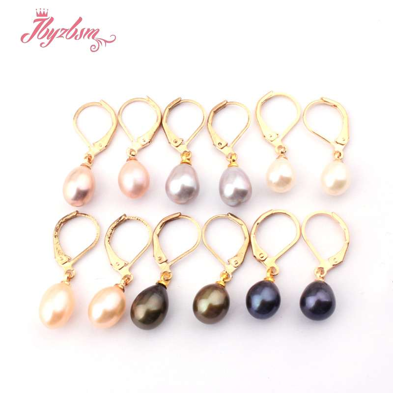7x8-8-9mm Oval Bead Genuine Freshwater Pearl Natural Stone Beads Silver Plated Dangle Hook Jewelry Earrings 1 Pair Free Shipping