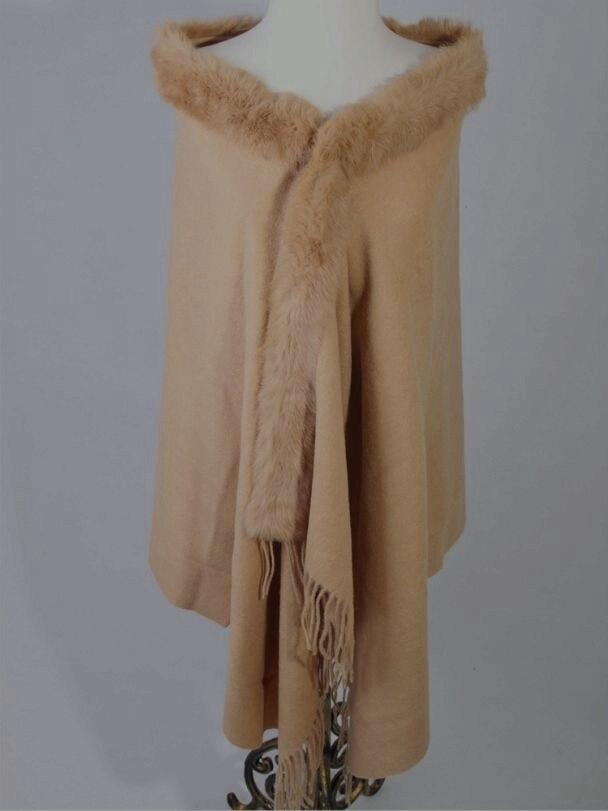 Модные тенденции верблюд Для женщин 100% шерсть шаль с натуральным кроличьим мехом пашмины классический пончо дропшиппинг WS007 Размеры 176x68 см