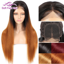 Soft Feel Hair 4x4 Closure Wig Ombre Human Hair Wigs For Women Black Burgundy Blonde Lace Closure Wig Remy Peruvian Straight Wig(China)