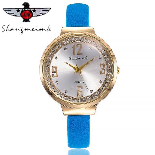 2018 CMK Women Leather Diamond Watch Female Crystal Stainless Steel Wrist Watch