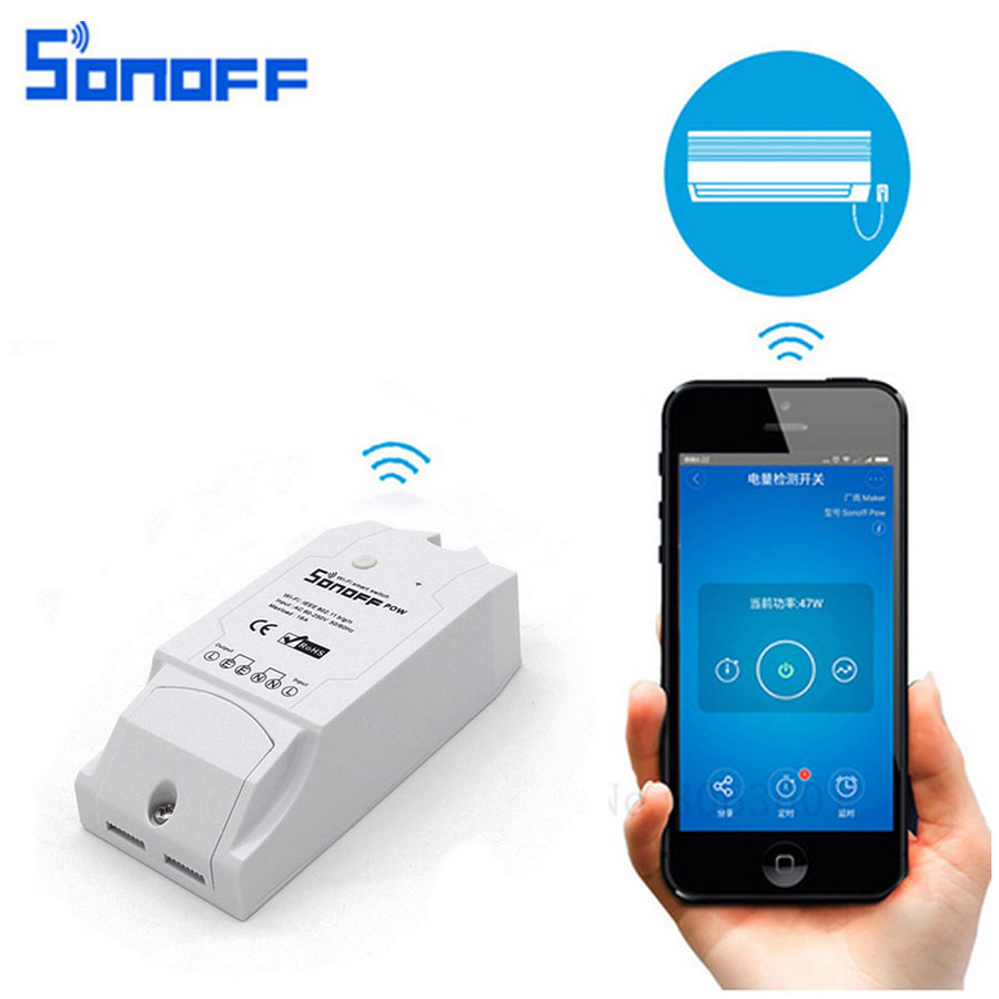Sonoff Pow Smart Wifi Switch Controller Smart Home Control With Real Time Power Consumption Measurement 16A/3500w Via EWeLink