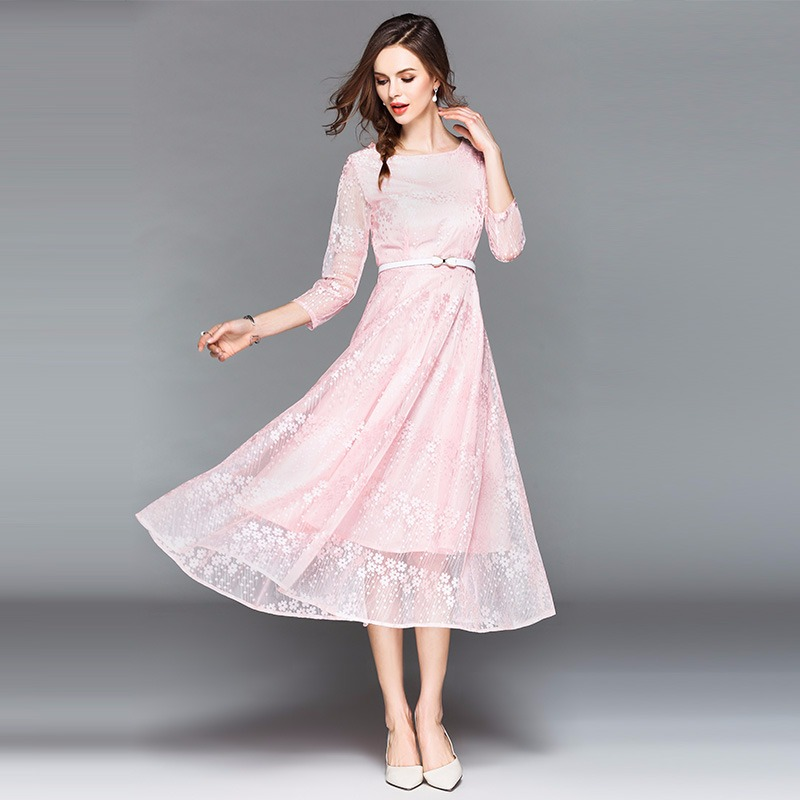 2d3af70c577 Peritiny Vestidos Verano 2018 Women s Summer Clothes Pink Blue Apricot Lace  Casual Dress Office Lady Ukraine