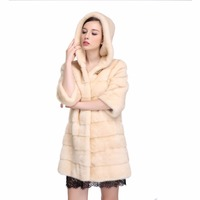 Full Leather Natural Mink Fur Coat Long Women Hooded Fur Jacket
