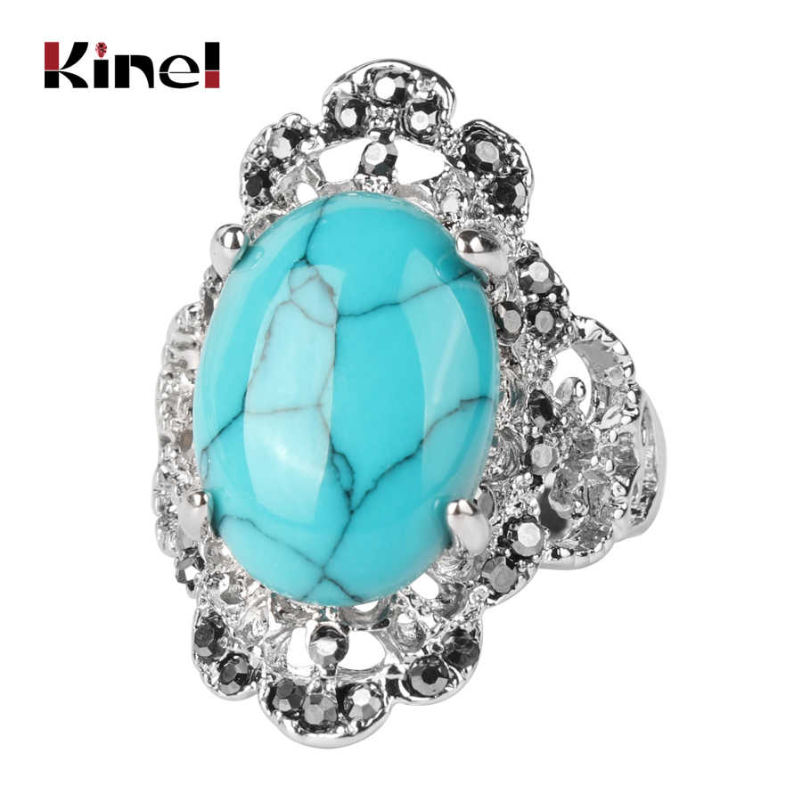 Kinel หินธรรมชาติแหวนขายส่งเงินสี Vintage คริสตัลแต่งงานแหวนผู้หญิงงบเครื่องประดับ Bohemian