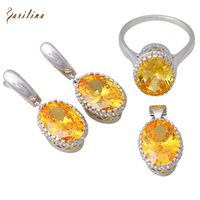 Yellow Morganite 925 Sterling Silver Overlay Pendants Ring Earrings Womens Jewelry Set Size 6 7 8