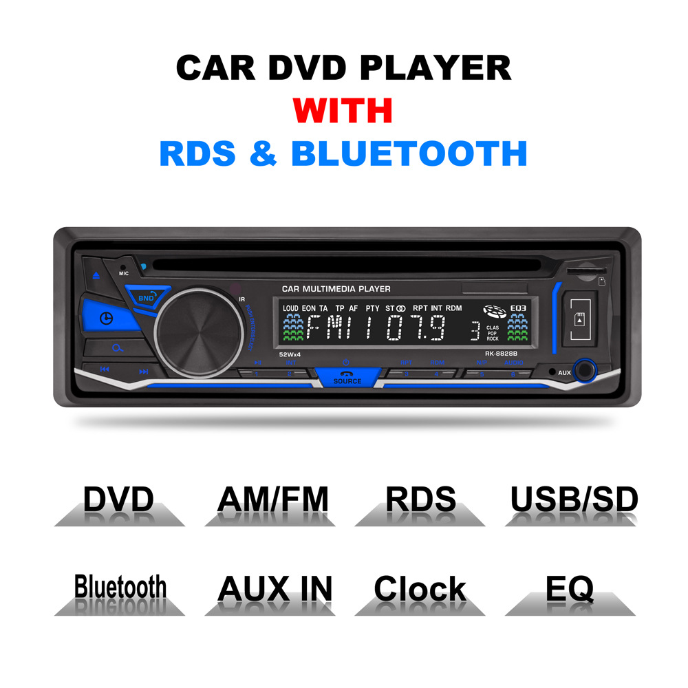 Fixed panel Car DVD Radio Player Bluetooth AM FM RDS Receiver CD VCD MP3 SD 32GB USB 12V One Din Remote control 4*45W ISO