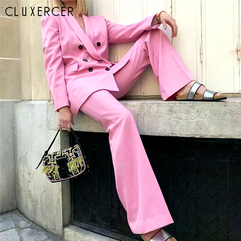 Spring Autumn Women's Suit Office Lady Double-Breasted Blazer Amd Pant Suits Elegant Pink Suit Female