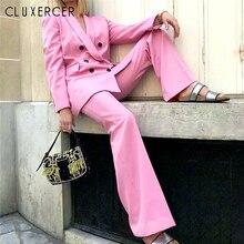 13677a14f Primavera y otoño de las mujeres traje de oficina Blazer cruzado amd trajes  de pantalón elegante