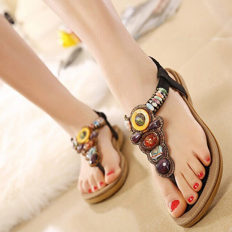2016 Summer Flat Sandals Ladies Bohemia Beach Flip Flops s