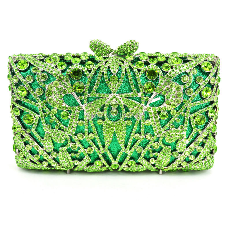 ФОТО Green Luxury Evening Bag Ladies Party Clutch Bag Women Prom Purse Pochette Wedding Bride Bag SC312