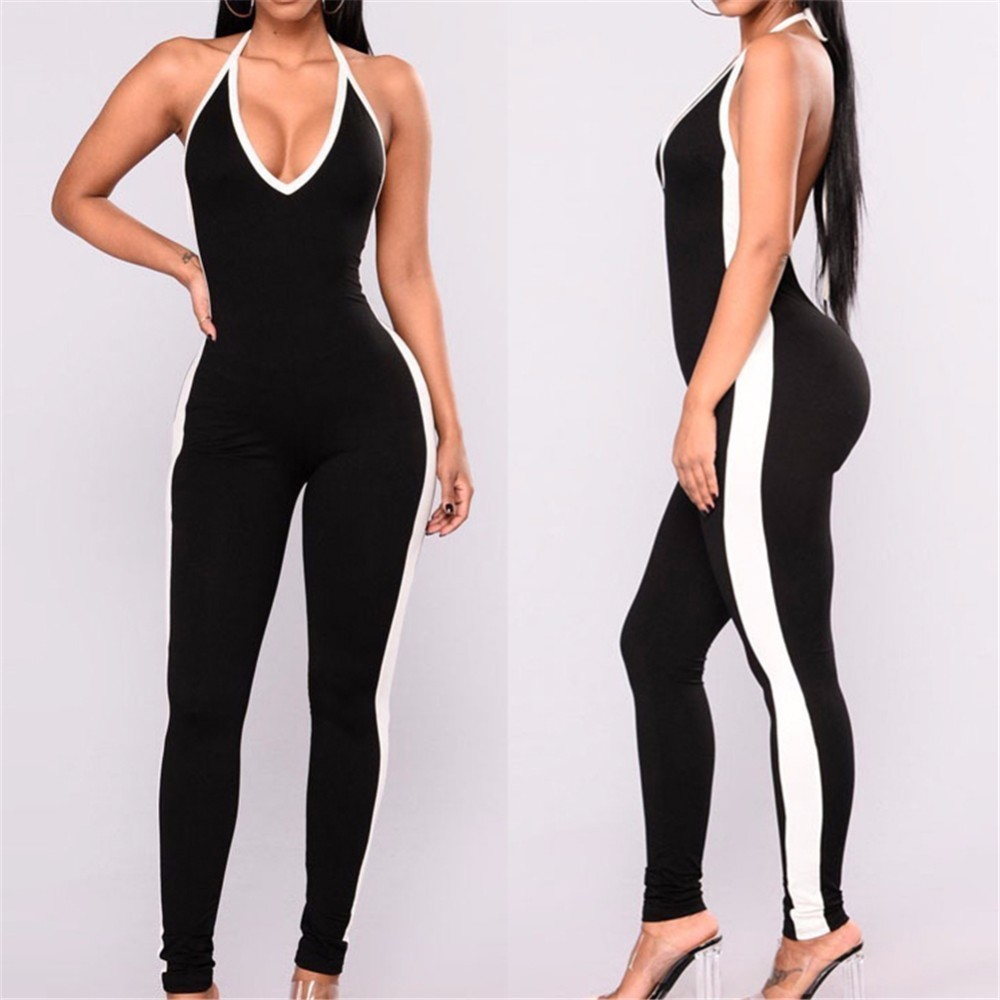 Fitness Yoga Set Women Tracksuit Sexy Halter Backless Sport Suit Gym Running Sportswear Leggings Jumpsuit Workout Sports Clothes