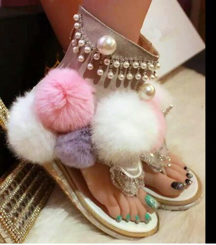 Newest Mixed Color Fur Gladiator Sandal Summer Women Flat Pom Pom Sandal Crystal Butterfly-knot Fashion Shoe Cutouts Sandal