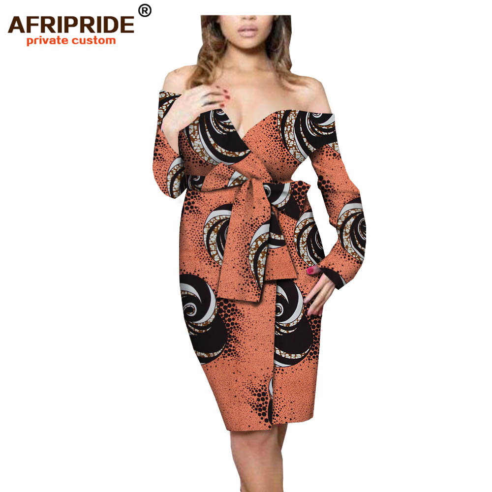 2019 african summer wrap dress for women AFRIPRIDE tailor made full sleeve knee length women cotton dress with sashes A1825076-in Dresses from Women's Clothing    1