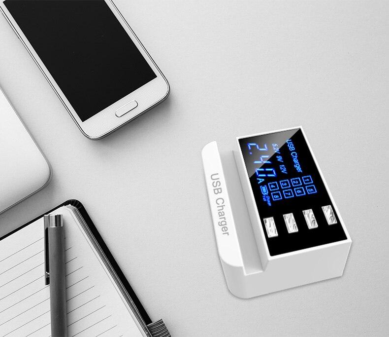 4 Ports Smart USB Charger Adapter Station HUB Led Display (2)