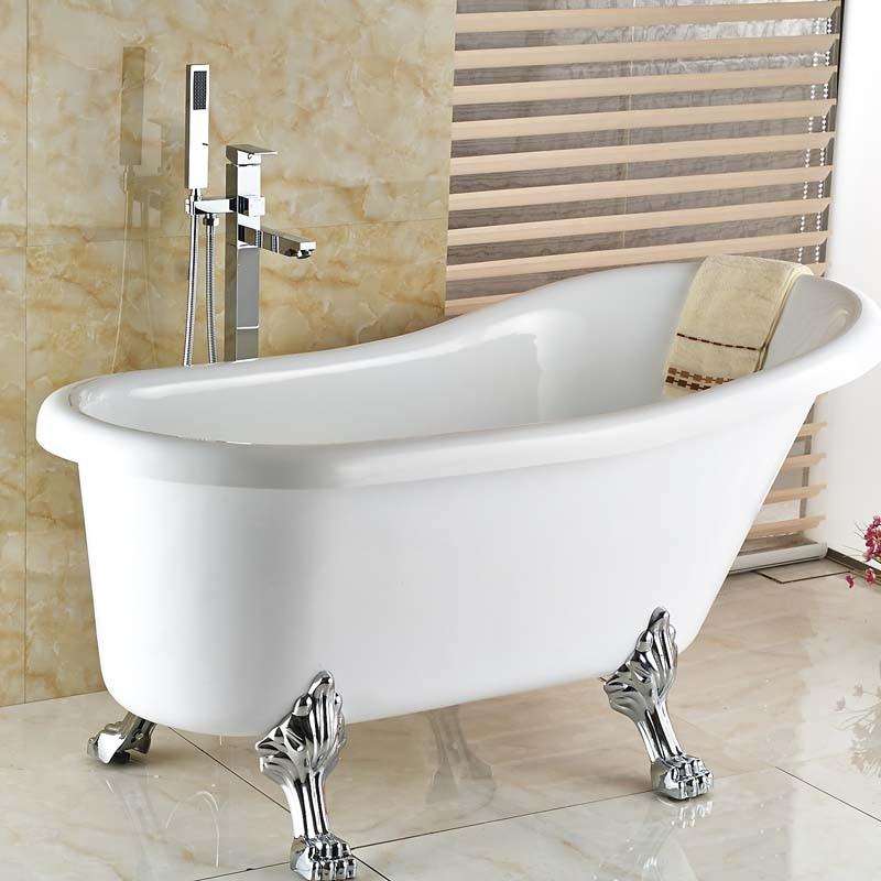Bright Chrome Single Post Floor Mount Bath Tub Mixer Faucet ...