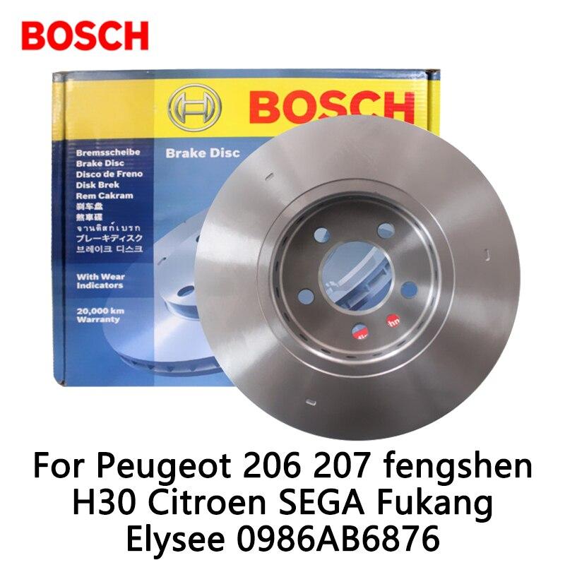 2pieces set BOSCH Car Front Brake Disc For Peugeot 206 207 fengshen H30 Citroen SEGA Fukang