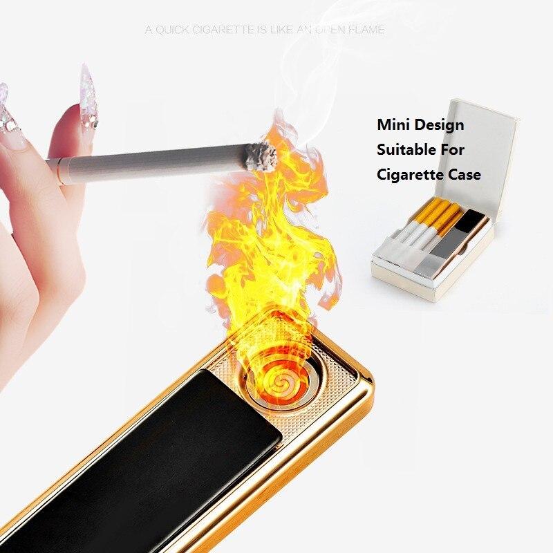 Портативный металла прикуривателя USB Перезаряжаемые Непламено Зажигалка Ветрозащитный Нет fire Зажигалка для гаджеты для Для мужчин