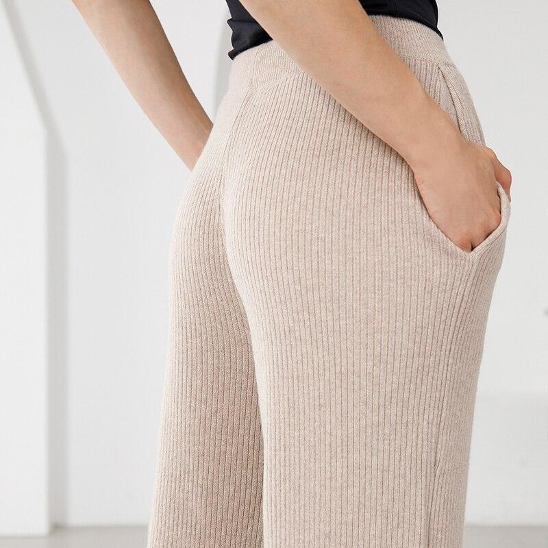 Avec Pur Élastique Pantalon Joggeurs Mode Ceinture Pantalons Taille 100 D'hiver coffee Pour Femmes Super Beige Cachemire black Couleur Solide Chaud 2018 OZx04d