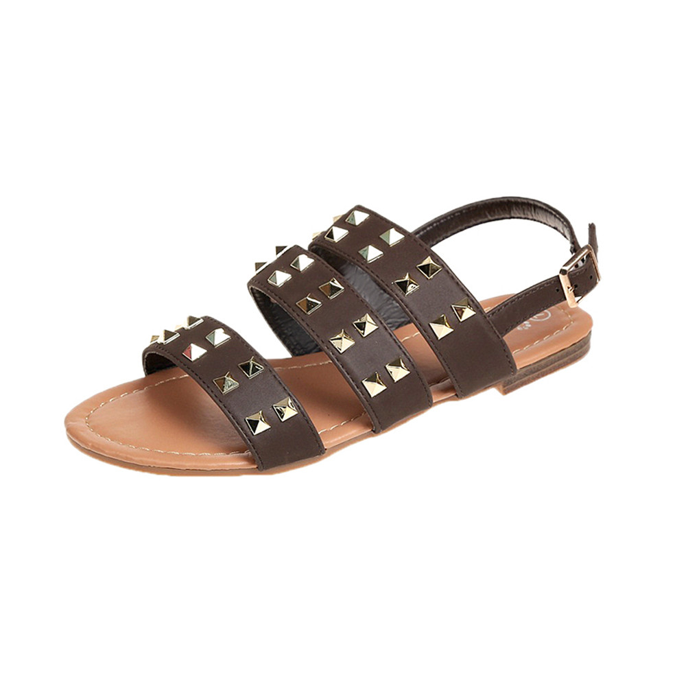 Fashion Leather Sandals women Summer Ladies Dress shoes woman with Rivets Open Toe Buckle Strap Beach Shoes Flat Sandals