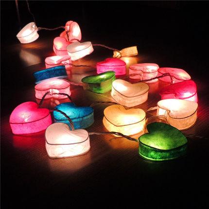 20 Tailândia Artesanal Coração de Papel De Tecido Guirlanda de Natal LED Luzes Cordas de Fadas Luminaria Luces Navidad Decoração Do Casamento