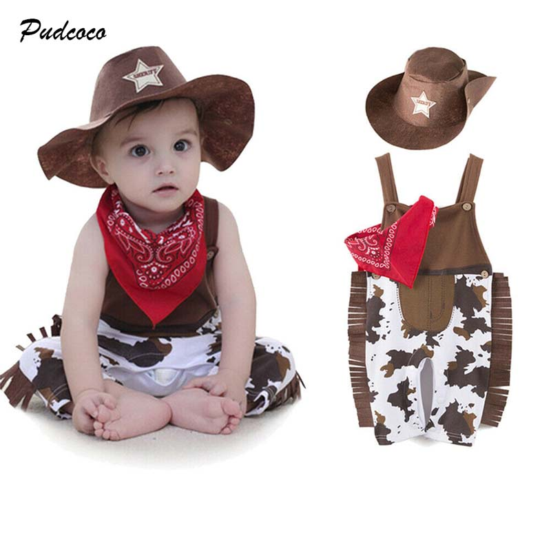2019 Brand Cute Toddler Baby Costume Cowboy Sheriff Fancy