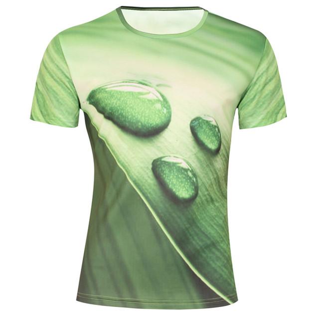 Niños 2016 Nueva Camiseta de la Manera 3D Diseño Hierba Verde camiseta de Manga Corta Casuales Ropa de Marca 100% Poliéster Seca Rápidamente Tops