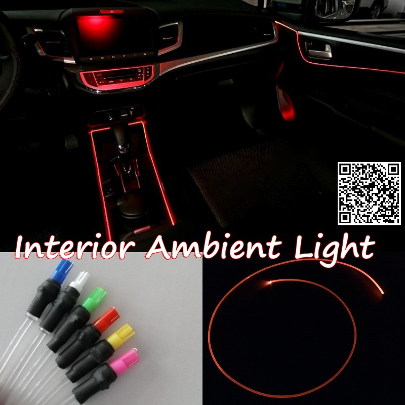 Для Фольксваген тигуан 2007~2015 автомобилей интерьера окружающего освещения панели освещения автомобиля внутри прохладно полосы света оптического волокна Группа