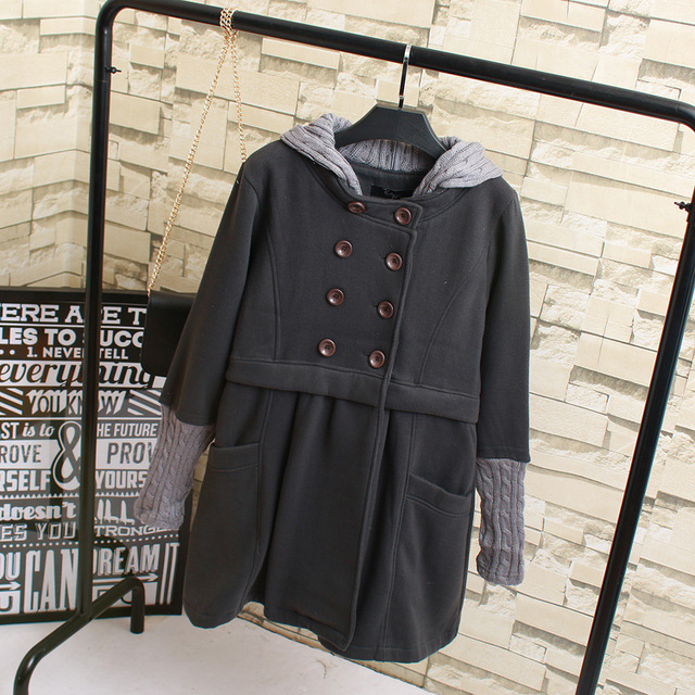 Women Trench Coat 2016 Autumn Warm Loose Hooded Double Breasted Long Trench Black Dark Grey KK2127