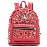 WITFLASH Sequins PU Leather Backpack Women S Rivet Female School Backpack Bag Fashion Backpacks For Teenage