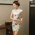 2016 Новые одежды chinoises Cheongsam Qipao Женщины Лето Цветочный Печати Вечер Короткое Платье Китайское Традиционное Платье