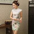 2016 Nuevas ropas chinoises Cheongsam Qipao de la Mujer Estampado de Flores de Verano Vestido de Noche Corto Vestido Tradicional Chino