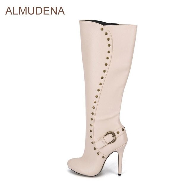 e617216962f ALMUDENA Nude Color Knee High Boots Women Thin High Heel Dress Shoes Buckle  Strap Decorated Tall