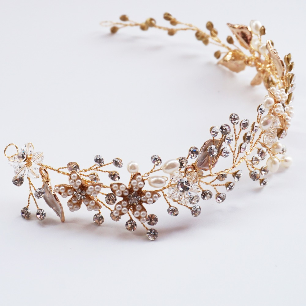 Floral Bridal Halo Pearl And Rhinestone Hair Vine Crown Gold Plated Wedding Headpiece Party Prom Hair Accessories