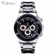 Banco de arena shark sport reloj clásico diseño de 6 manos fecha día acero inoxidable negro dial completo luminoso movt de cuarzo relojes de los hombres/sh011