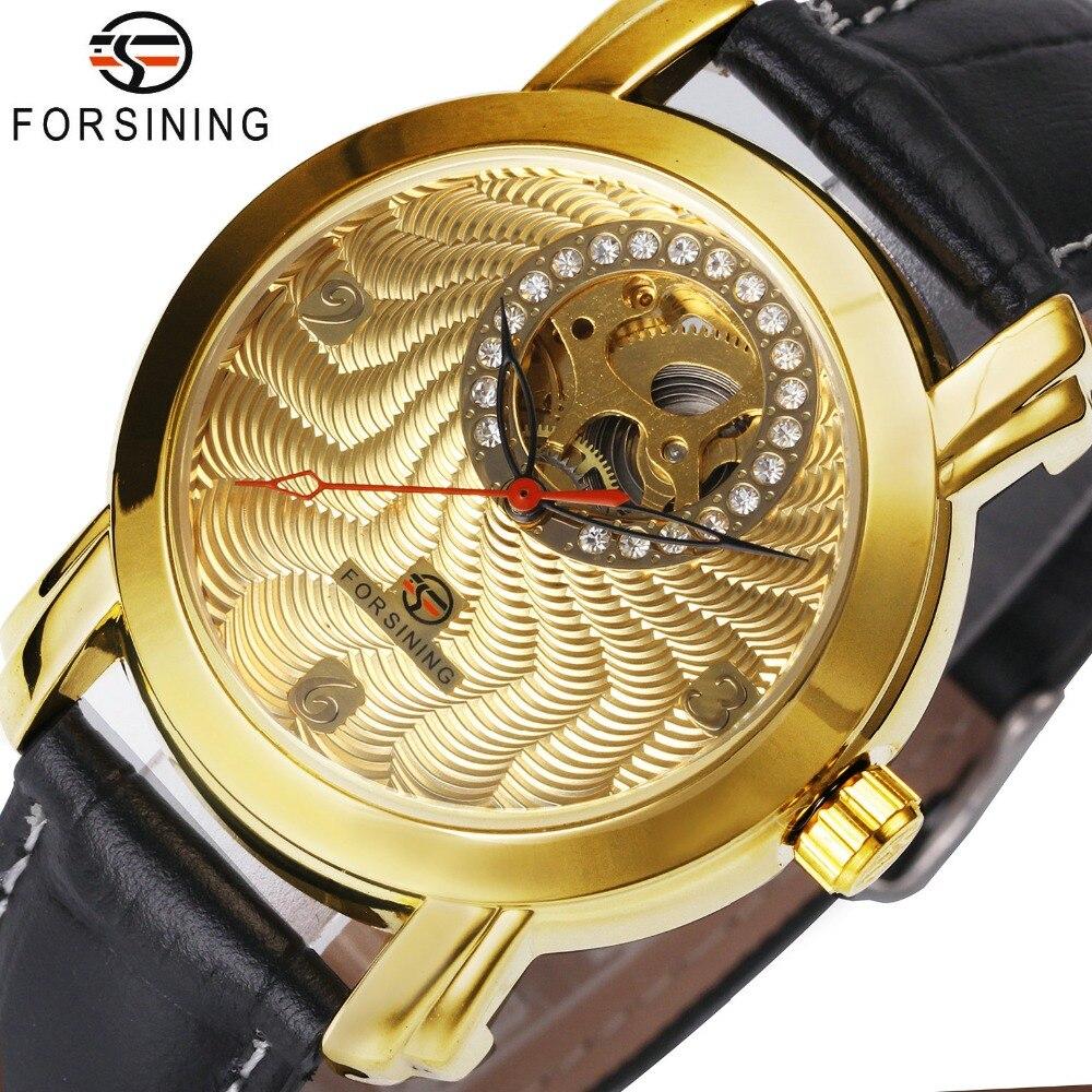 FORSINING Luxus Männer Frauen Mechanische Uhren 2018 Mode Liebhaber Geschenk Kristall Dekoration Zarte Zifferblatt Louvre Serie Hohl