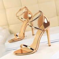 2019 Summer Fashion Women Sexy Fetish 11cm High Heels Sandals Female Open Toe Black Gold Cross Strap Sandals Party Wedding Shoes