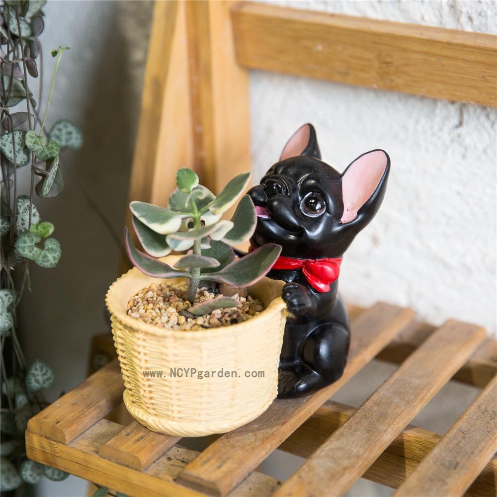 Decorative Black French Dog Resin Flower Cactus Succulent Pot Planter  Bonsai Home Garden Pot Decor(