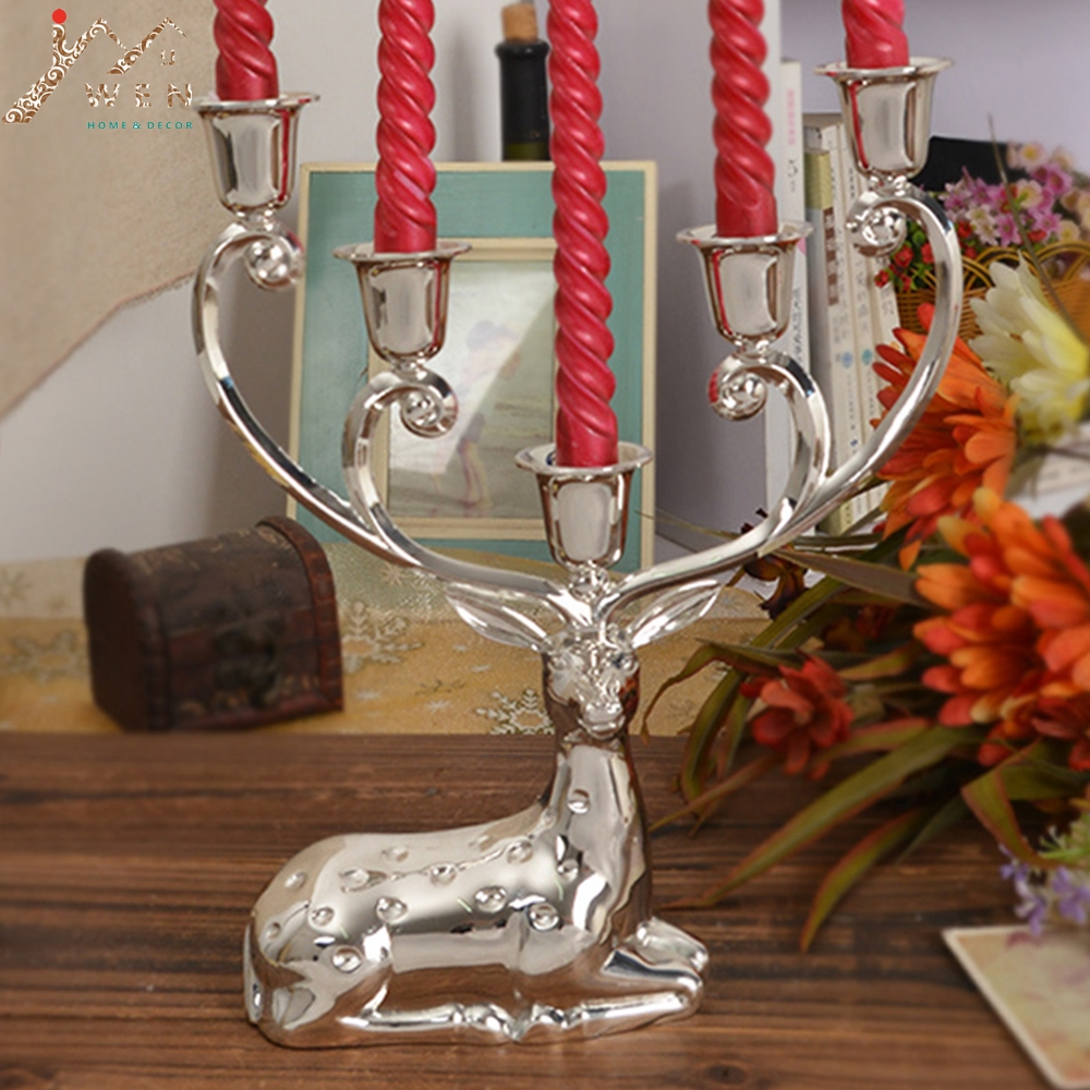 Free Shipping Silver Finish Metal Reindeer Shape Candle