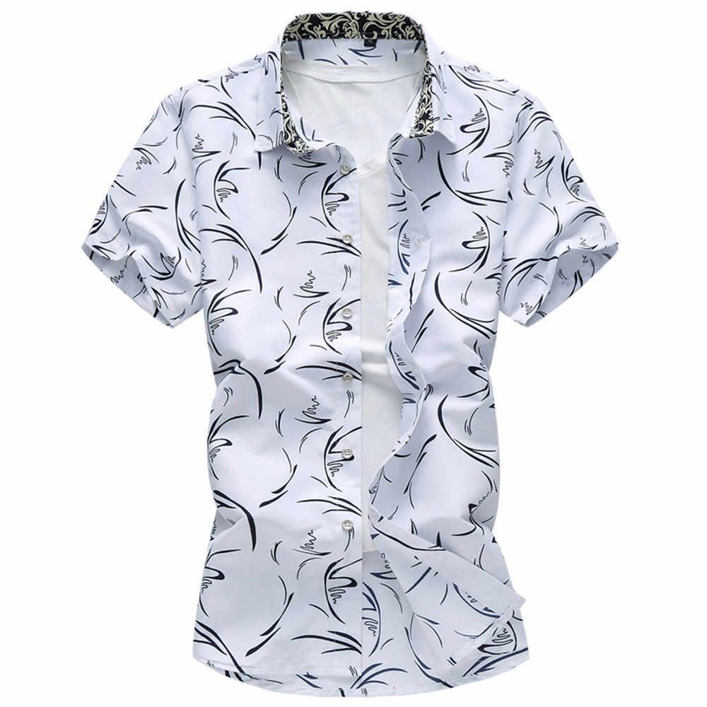 M-7XL 花シャツ 2019 男性半袖男性シャツ花カジュアルファッション Camiseta masculina スリムフィットメンズドレスシャツ