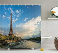 Eiffel Tower Shower Curtain, Sunset Over Eiffel Tower And Seine River With Puffy Clouds, Paris, France Nature Scene