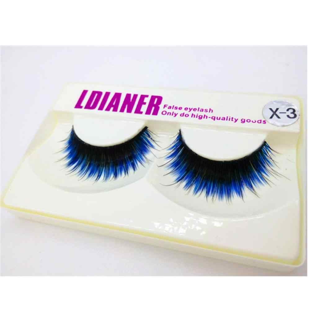 b9b4e3982c5 New Arrival 1Pair Unique Design Fake Eyelashes Women Beauty Fashion Long  Blue Black False Eyelashes Beautiful