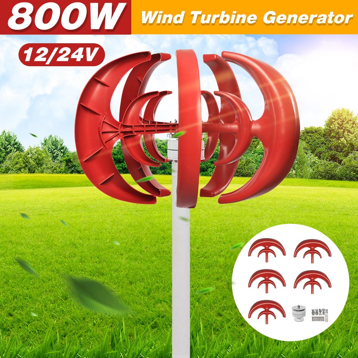 Max 800 w ac 12 v 24 v gerador de turbina eólica lanterna 5 lâminas motor kit eixo vertical para uso doméstico híbrido streetlight