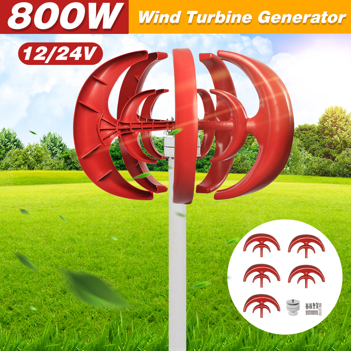Max <font><b>800W</b></font> AC 12V 24V <font><b>Wind</b></font> Turbine <font><b>Generator</b></font> Lantern 5 Blades Motor Kit Vertical Axis For Home Hybrid Streetlight Use image