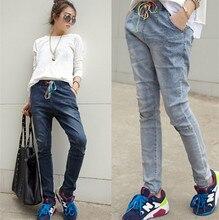 Женщины джинсовые брюки уличной моды джинсы тонкий брюки случайные свободные джинсы женские
