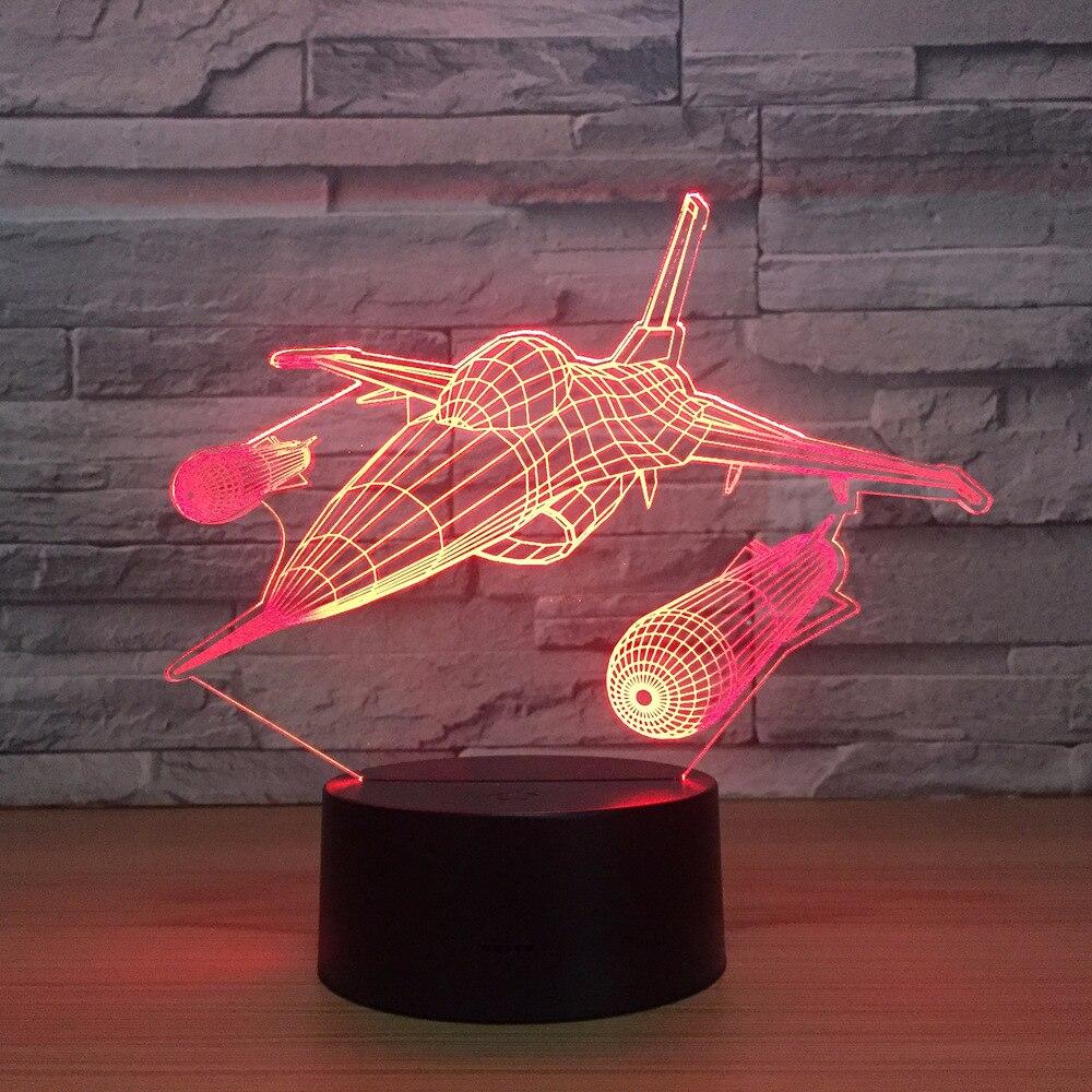 Işıklar ve Aydınlatma'ten LED Gece Lambaları'de Yeni Savaş Uçağı Uçak 3D Gece Lambası Masa lambası Çok Renkli Jet uçağı USB Güç ile Dekor Doğum Günü Tatil Yeni Yıl dekor Hediye title=