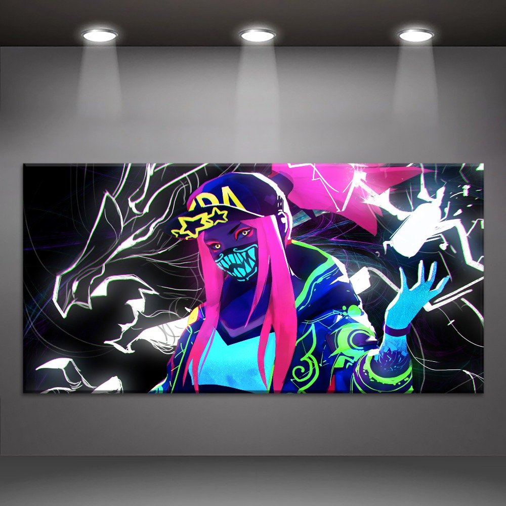 Akali KDA LOL League of Legends Painting On Canvas Print Type And The Wall Decor Artwork 1 Panel Style Game Large Poster