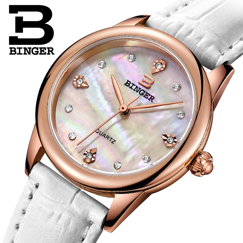 Five Colors BINGER Ms Quartz Watches Waterproof Calfskin Leather Ladies Watch Crystal Diamond Watch For Women
