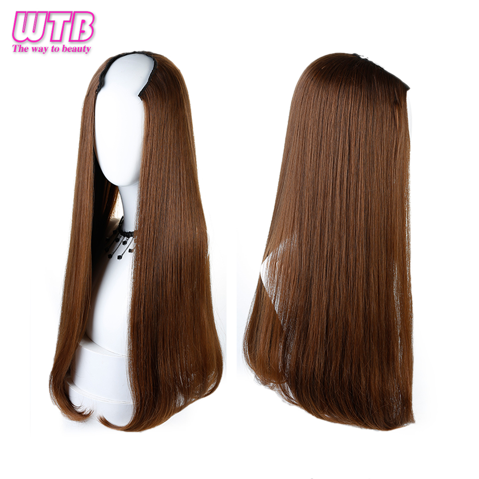 WTB Long Straight U Shaped Half Wig For Women Party Heat Resistant Synthetic U Shape Hair Wigs For Daily Use