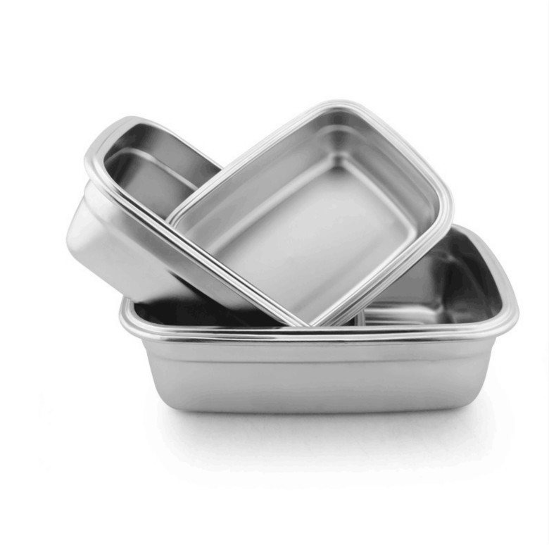 High Quality Stainless Steel Crisper Box Food Storage Container Rectangular Three piece Lunch Box Bento Box Kitchen Storage Box in Lunch Boxes from Home Garden