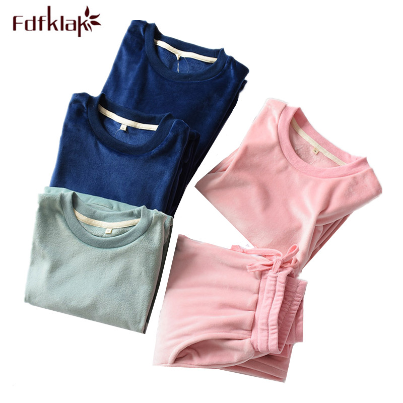Fdfklak New flannel pajamas set autumn winter pyjamas women coral fleece women's sleepwear home clothes ladies nightwear pijama